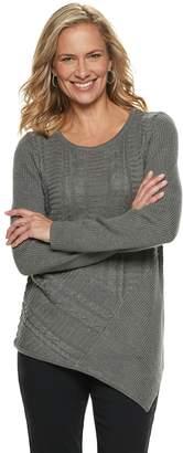 Dana Buchman Women's Lurex Asymmetrical Hem Sweater