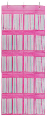 Laura Ashley Over The Door 16 Pocket Shoe Organizer in Painterly Pink Stripe
