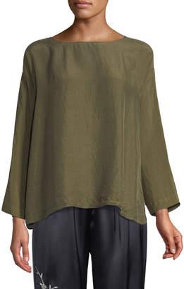 Forte Forte Boat-Neck Long-Sleeve Silk Habutai Shirt