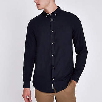 River Island Navy wasp embroidered Oxford button-up shirt
