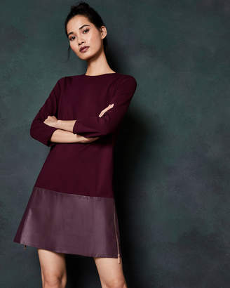 Ted Baker OLYIE Leather and zip detail dress