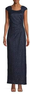 Tahari Horseshoe Neck Floor-Length Gown