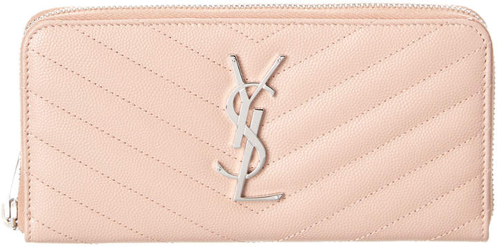 Saint Laurent Monogram Matelasse Leather Zip Around Wallet