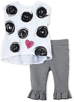 Flapdoodles Infant Girls) Swirl Hi-Low Top & Gingham Ruffle Cuff Pants Set