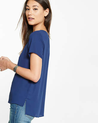 Express Step Hem Scoop Neck Blouse