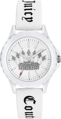 Juicy Couture Ladies' White Sparkle Crown Watch