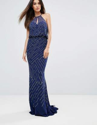 Forever Unique All Over Embellished Maxi Dress With Drape Back