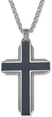 "Esquire Men's Jewelry Black Onyx Cross 22"" Pendant Necklace in Sterling Silver, Created for Macy's"