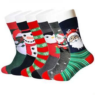 Feetalk Women's Premium Cotton Christmas Pattern Dress Socks with Christmas Gift Box 6 Pack()
