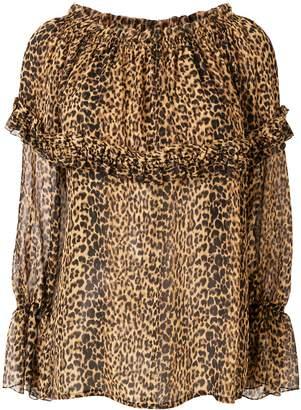Saint Laurent Off The Shoulder Leopard Blouse