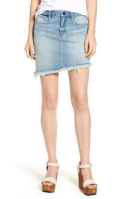 Blank NYC BLANKNYC Denim Asymmetrical Raw Hem Denim Skirt (Slumlord)