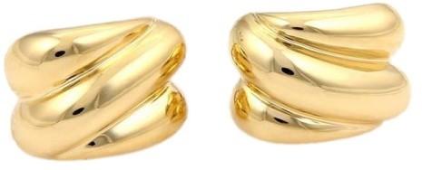 Tiffany & Co. 18K Yellow Gold Ribbed Swirl Huggie Earrings
