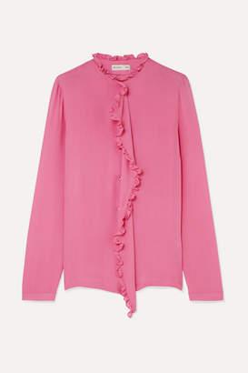 Etro Ruffle-trimmed Silk Crepe De Chine Blouse - Pink