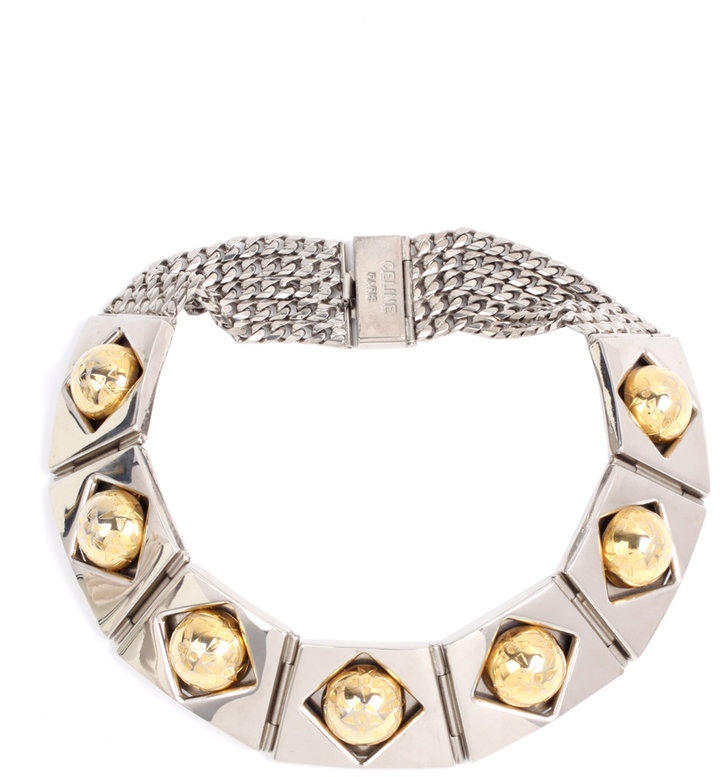 Susan Caplan Vintage Vintage Celine 80s Articulated Silver And Gold Tone Heavy Metal Collar Necklace