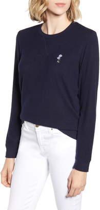 Lucky Brand Flower Embroidered Sweatshirt