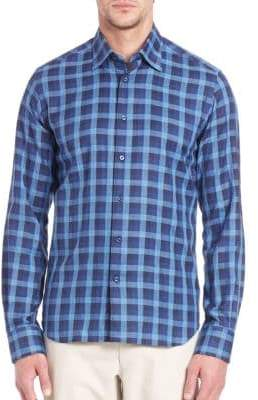 Saks Fifth Avenue Windowpane Checked Long Sleeve Shirt