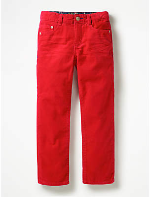Boden Mini Boys' Slim Corduroy Jeans, Candy Apple Red