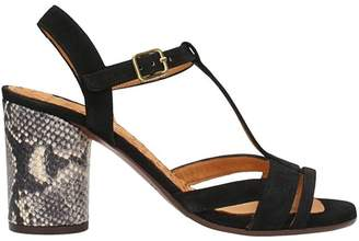 Chie Mihara Ujo Black Suede Leather Sandals
