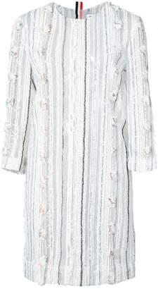 Thom Browne Crewneck 3/4 Sleeve Mini Dreshort Sleeve In Multi Yarn Sheer Tweed On Tulle