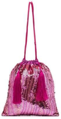 ATTICO pink sequin tassel silk pouch