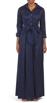 Long Stretch Taffeta Shirt Dress