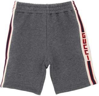 Gucci Web Side Bands Cotton Sweat Shorts
