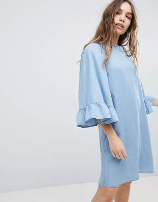 Only Denim Shift Dress Wth Ruffle Sleeve