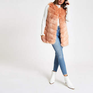 River Island Pink faux fur chevron panelled vest
