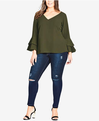 City Chic Trendy Plus Size Ruffle-Cuff Top