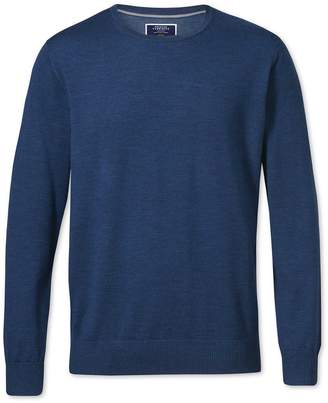 Charles Tyrwhitt Mid Blue Merino Wool Crew Neck Sweater Size Large