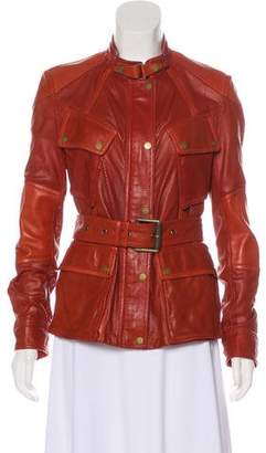 Belstaff Leather Stand Collar Jacket