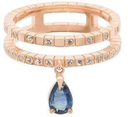 Diane Kordas Double Band 18kt Gold, Diamond & Sapphire Ring - Womens - Blue