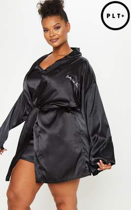 PrettyLittleThing Plus Black Satin Robe