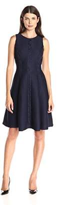 London Times Women's Swirl Lace Spliced Princess Seam Fit and Flare