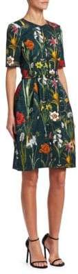 Oscar de la Renta Short Sleeve Floral Jacquard A-Line Dress