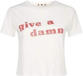 Amo Denim Cropped Slogan T-Shirt