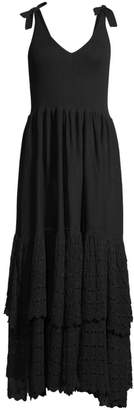 Rebecca Taylor Rib-Knit & Tiered Lace Eyelet A-Line Dress
