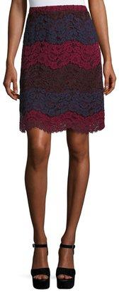 Max Studio Colorblock Tiered-Lace Slim Skirt, Multi $59 thestylecure.com