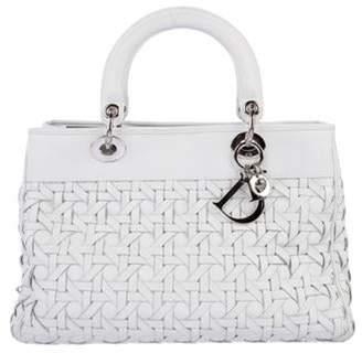 Christian Dior Large Woven Lambskin Lady Avenue Bag White Large Woven Lambskin Lady Avenue Bag