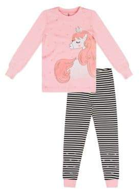 Petit Lem Little Girl's Two-Piece Unicorn & Striped Cotton Pajama Set