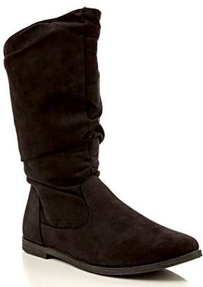 Charles Albert Women's Basey Comfortable Slouchy Flat Mid-Calf Boot in Black Size: 8