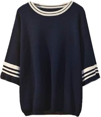 Goodnight Macaroon 'Joey' Varsity Three Quarter Sleeve Knitted Top Plus Size