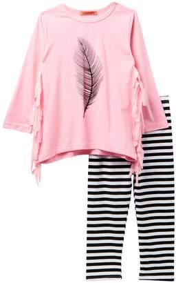 Funkyberry Feather Print Long Sleeve Fringe Top & Striped Leggings Set (Toddler & Little Girls)