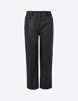 Marks and Spencer Leather Cropped Straight Trousers