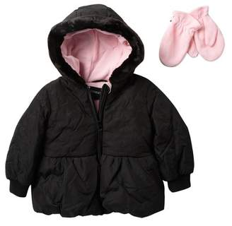 Rothschild Jacket with Faux Fur Trim & Mittens (Little Girls)