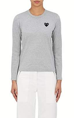 Comme des Garcons Women's Heart Cotton Long-Sleeve T-Shirt - Gray