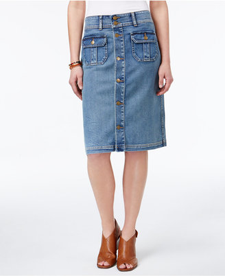Style & Co Denim Button-Front Skirt, Created for Macy's $49.50 thestylecure.com