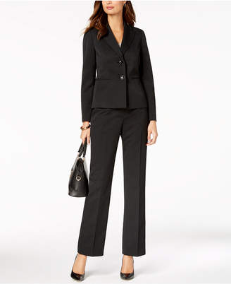 Le Suit Two-Button Pinstriped Pantsuit