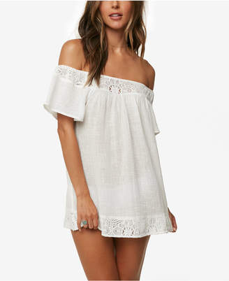 O'Neill Juniors' Indiana Cotton Off-The-Shoulder Dress Cover-Up Women's Swimsuit