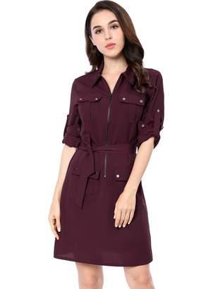 Allegra K Women's Multi-Pocket Above Knee Belted Shirt Dress XL
